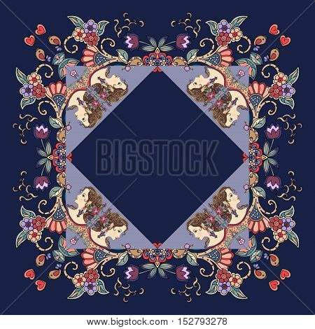 Beautiful bandana print with a female portrait and floral ornament. Vector illustration