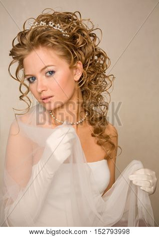 Bride with the veil in her hands