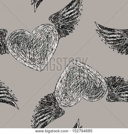 Seamless pattern with winged hearts. Black and weit