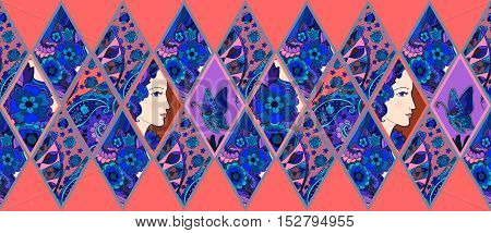Ethnic patchwork pattern from ornamental rhombuses with female portrait, flowers, butterfly and paisley. Vector illustration.