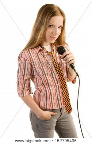 Teenage girl in striped shirt with microphone isolated on white background