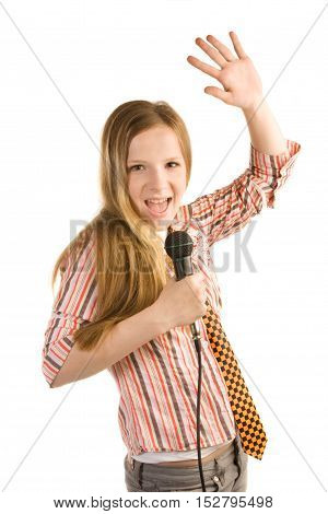 Teenage girl in striped shirt with microphone is screaming isolated on white background