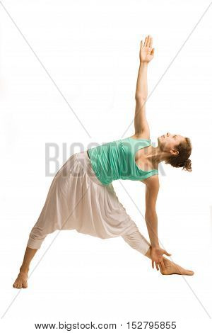 Young woman doing yoga pose (Uthitta Triconasana).Isolated on white