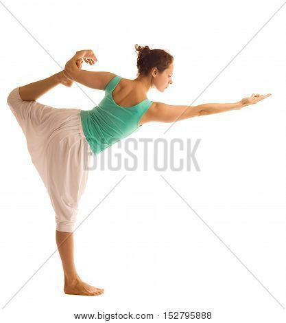 Beautiful woman doing yoga pose .Isolated on white