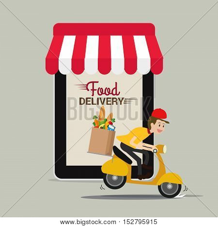 Food and fast food delivery online on smartphone. business concept design.Vector illustration.
