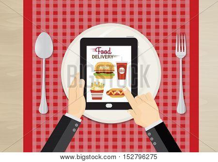 Food and fast food delivery online on smartphone. business concept design. illustration. food online concept.