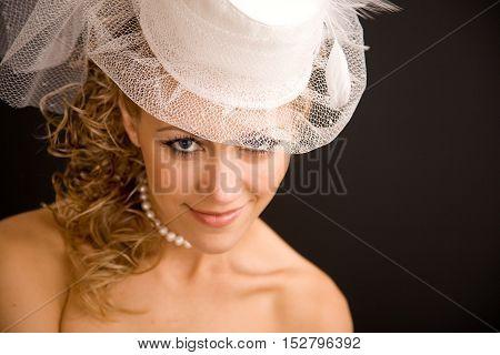 Retro woman portrait close up on the black background