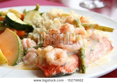 Salmon and shrimp dinner.