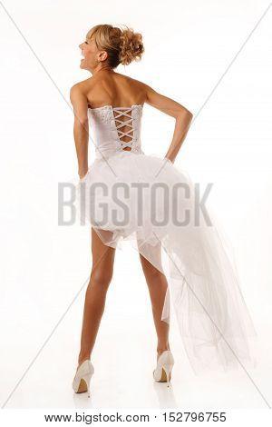 Photo of brides back. Isolated on white