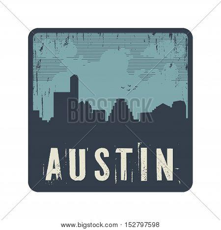 Grunge vintage stamp with text Austin vector illustration