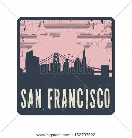 Grunge vintage stamp with text San Francisco vector illustration