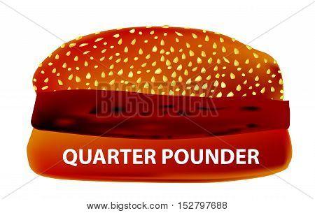 A large Quarter Pounder Burger in a sesame bun.