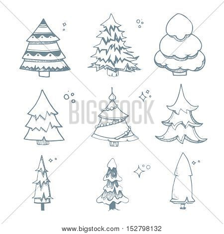 Vector illustration set of hand drown Fir trees from diffrent shapes. Christmas doodles. New Year fir trees isolate on white background
