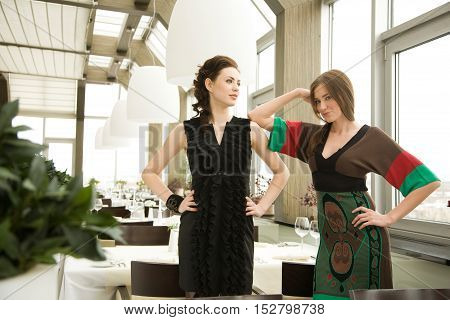 Two young woman in the fancy restaurant.Selective focus with a plant at the foreground