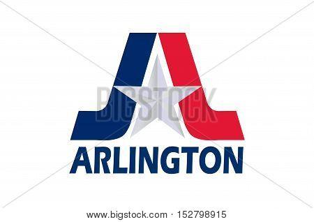 Flag of Arlington in Texas state, USA. Vector