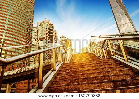 Shanghai streets, stairs and escalators skyscraper buildings.