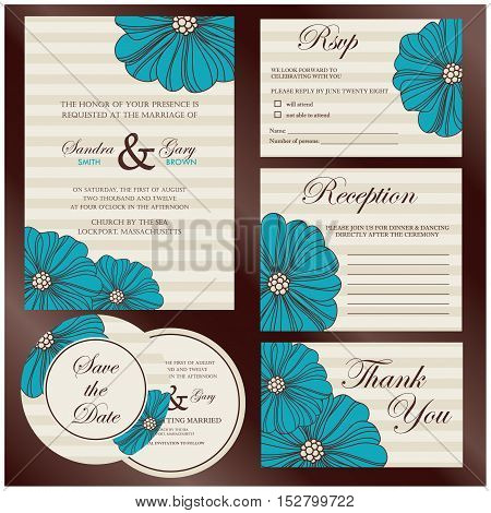 Set of wedding cards (invitation, thank you card, save the date card, RSVP card)