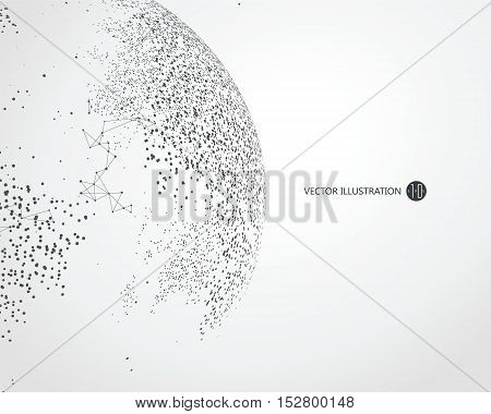 Dots three-dimensional map of the world abstract graphics.