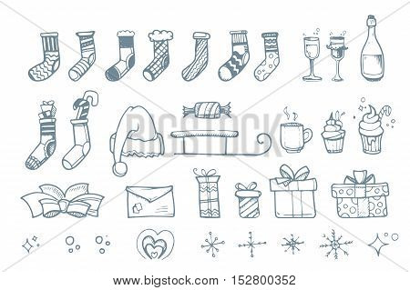 Vector illustration set of hand drown ellements for Christmas and New Year winter Holidays. Icon doodles set