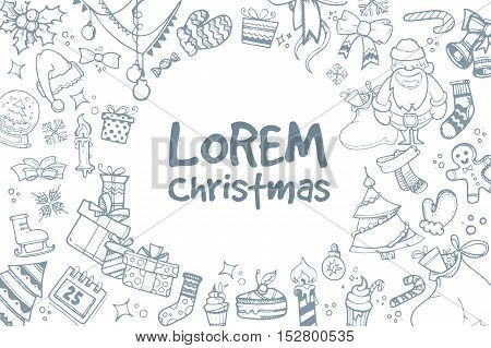 Vector background of hand drown ellements for Christmas and New Year winter Holidays. Icon doodles set with place for your text.
