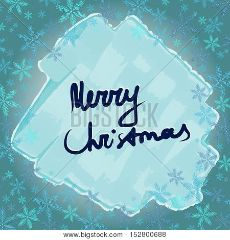 Merry Christmas. Frame with snowflakesv and ice. Happy holidays and merry christmas.