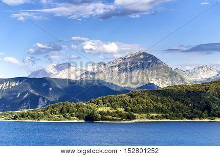 Monti della Laga. Mountain and lake (Aquila) Italy