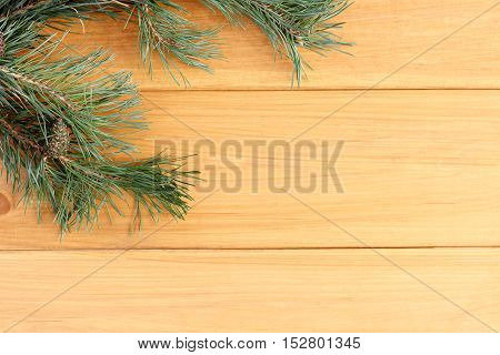flat layout with branches and cones of pine on a wooden surface top view / holiday background with nature elements