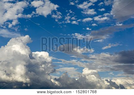 Cloudscape with blue sky widw angle image