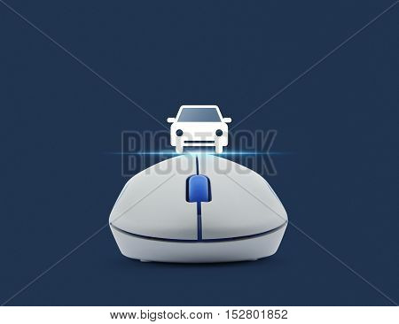 Wireless computer mouse with car front view flat icon over blue background Internet service car concept