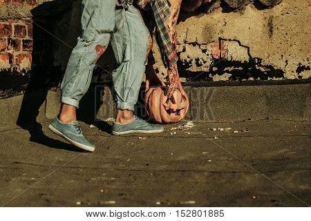 Halloween Pumpkin And Zombie Man