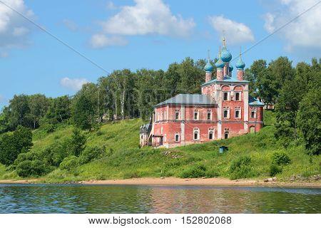 The old church of the icon of Our Lady of Kazan on the left bank of the Volga River, summer day. Tutaev (Romanov-Borisoglebsk) Yaroslavl region, Russia