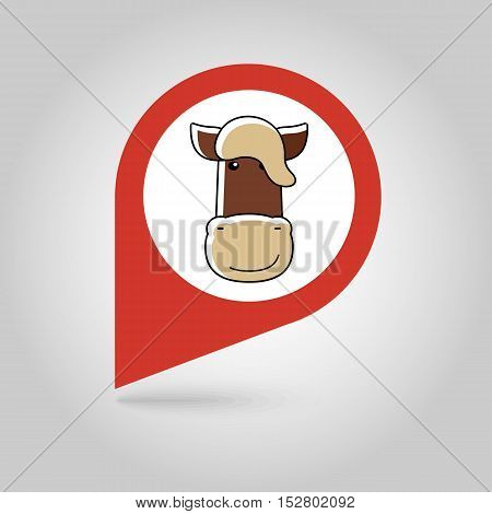 Horse flat pin map icon. Map pointer. Map markers. Animal head vector illustration eps 10