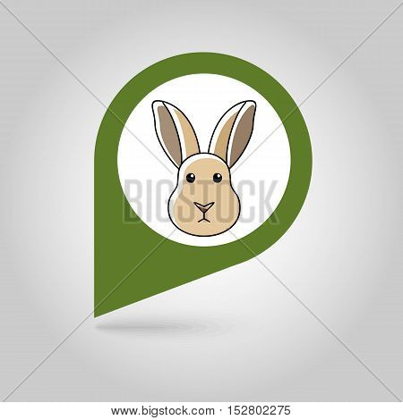 Rabbit flat pin map icon. Map pointer. Map markers. Animal head vector illustration eps 10