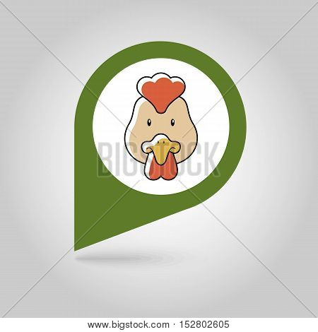 Chicken flat pin map icon. Map pointer. Map markers. Animal head vector illustration eps 10