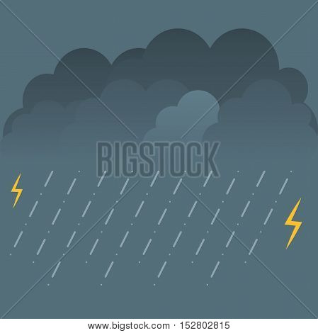 Storm and lightning. Vector illustration with rain and clouds.