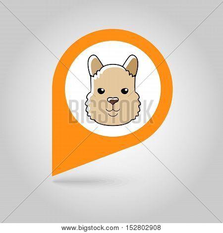 Lama alpaca guanaco flat pin map icon. Map pointer. Map markers. Animal head vector symbol eps 10