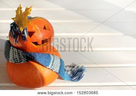 idea manicure of orange pumpkins in a warm scarf and bow of a maple leaf / Halloween fashion show