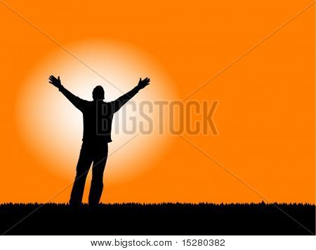 """Faith"" Man with arms outstretched to a sunset sky, also available in jpg."