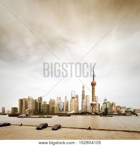 the street scene of the lujiazui downtown in shanghaiChina.