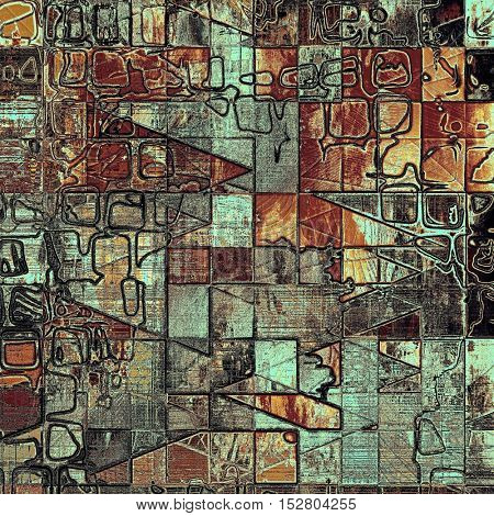 Geometric vintage design background - Grungy style ancient texture with different color patterns: yellow (beige); brown; blue; red (orange); black