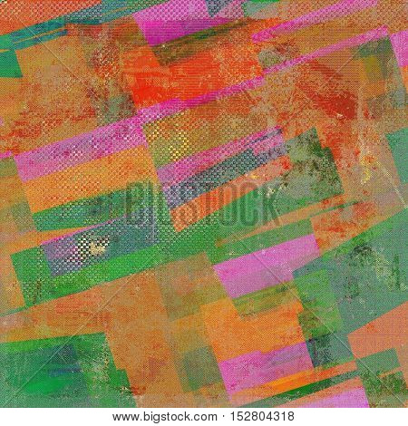 Geometric old style design, textured grunge background with different color patterns: yellow (beige); brown; green; blue; red (orange); pink