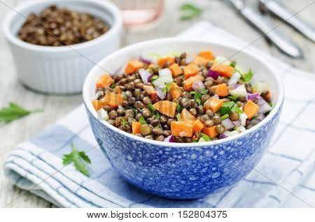 green lentils carrots celery salad on wood background