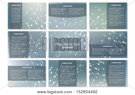 Set of modern business presentation templates in A4 size. Connection structure. Abstract background with molecule DNA and neurons. Medicine, science, technology concept. Vector illustration