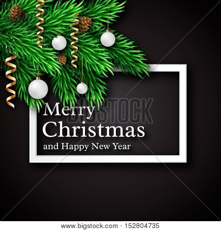 Christmas design realistic white frame and text with shadow new year fir branches decoration white ball fir cones. Black color background. Vector illustration.
