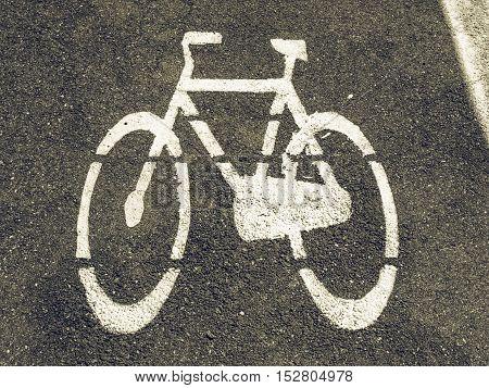 Vintage Looking Bike Lane Sign