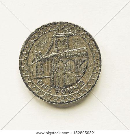 Vintage Uk 1 Pound Coin