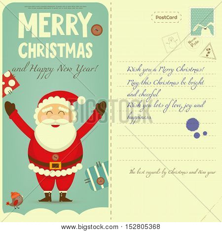 Vintage Postcard with Christmas and New Years Greeting. Backdrop of Postal Card for Winter Holiday. Cartoon Santa Claus. Vector Illustration.