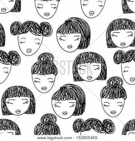 Pattern with girl faces in cartoon style on white background.