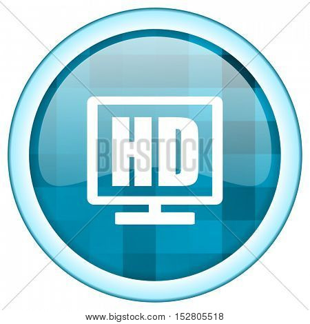 Blue circle vector hd television icon. Round internet glossy button. Webdesign graphic element.
