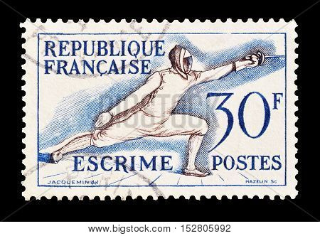 FRANCE - CIRCA 1953 : Cancelled postage stamp printed by France, that shows Fencing.
